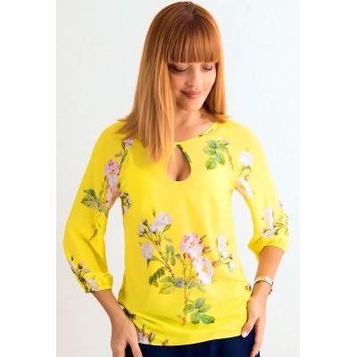 00391 Блуза из вискозы ярко-желтая