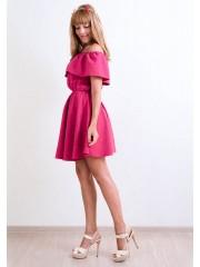 00164 Платье ягодный меланж с баской