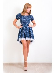 00137 Платье Каскад из хлопка синее