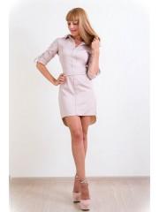 00147 Платье-рубашка бежевое