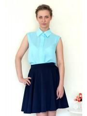 00155 Блузка из креп-шифона голубая