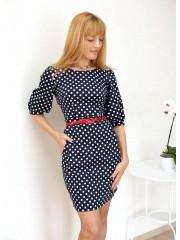00136 Платье футляр темно-синее в горох из хлопка