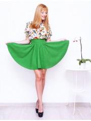00119 Платье цветное с мелажевой юбкой-солнце