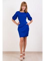 00126 Платье из костюмной ткани электрик