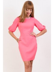 00125 Платье-футляр  ярко-розовое из костюмной ткани