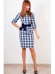 00312 Платье-футляр в синюю клетку с поясом