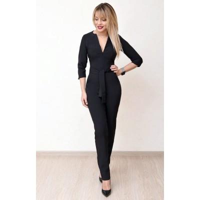 00775 Комбинезон из костюмной ткани черный