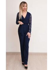00777 Комбинезон из костюмной ткани синий с гипюровыми рукавами