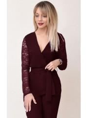 00778 Комбинезон из костюмной ткани бордовый с гипюровыми рукавами