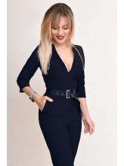 00771 Комбинезон из костюмной ткани синий