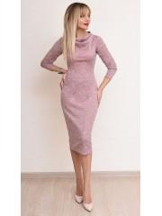 00770 Платье из трикотажа меланж розовое
