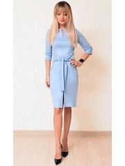 00745 Платье из лакосты голубое с поясом