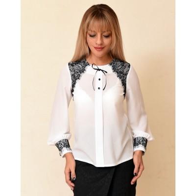 00751 Блузка белая с черным кружевом