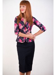 00330 Жакет джинсовый черный в цветок