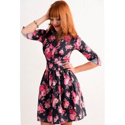 00253 Платье джинс цветы на черном фоне