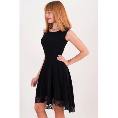 00361 Платье черное каскад с кружевом