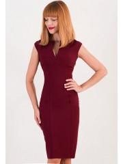 00362 Платье бордовое с вырезом без рукава