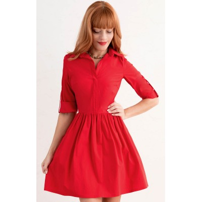 00166 Платье-рубашка красное