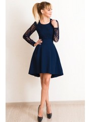 00563 Платье каскад темно-синее с кружевом