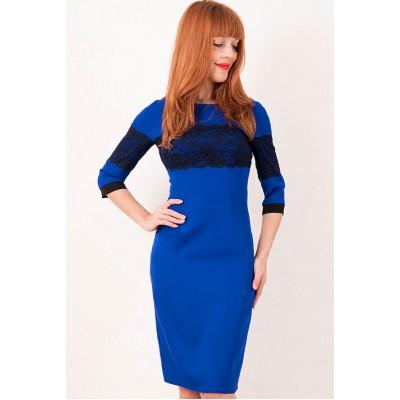 00305 Синее платье с кружевом