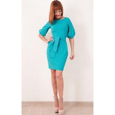 00286 Платье бирюзовое с поясом