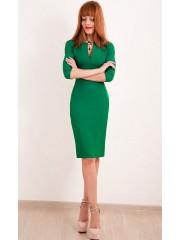 00298 Платье зеленое с вырезом
