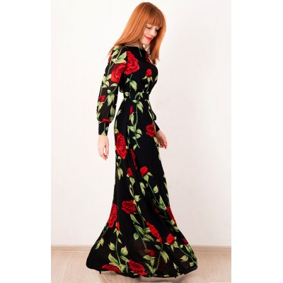00309 Платье из французского шифона с розами