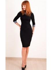 00290 Черное платье с клетчатым воротом и рукавами