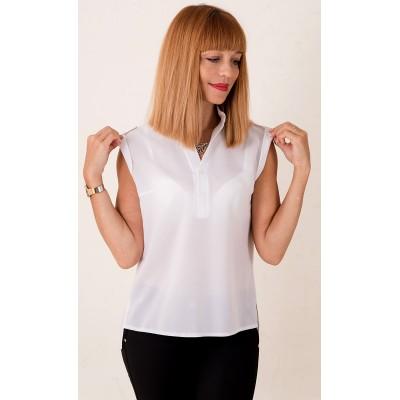 00380 Блуза из крепа белая с воротом стойка