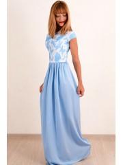 00363 Платье голубое  из жаккарда и шелка