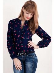 Снова в наличии** 00702 Рубашка синяя с вишнями