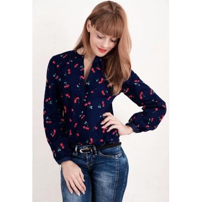 00702 Снова в наличии** Рубашка синяя с вишнями