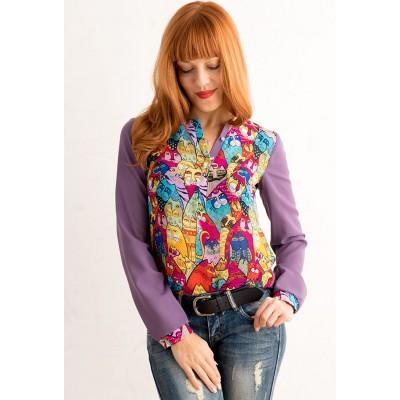 00272 Блузка из французского шифона с котами фиолетовая