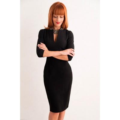 00276 Платье черное с вырезом