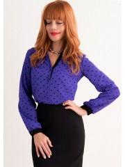 00279 Блуза и креп-шифона фиолетовая с длинным рукавом