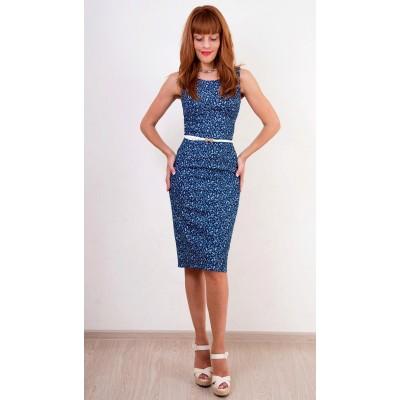 00328 Платье джинсовое без рукава в мелкий цвветок