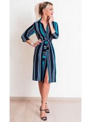 00694 Платье-рубашка цветное полосатое из крепа