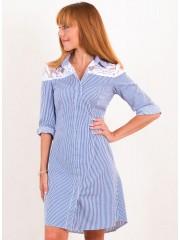 00500 Платье из хлопка полосатое с кружевом