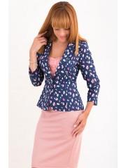 00482 Жакет джинсовый синий в цветок