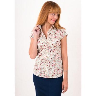 00472 Рубашка из хлопка с коротким рукавом в цветок белая