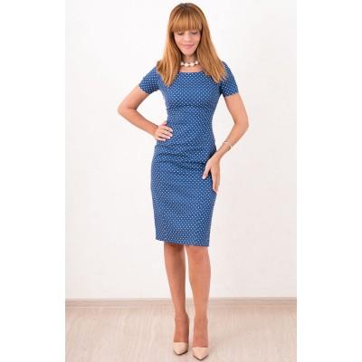 00489 Платье джинсовое в горошек