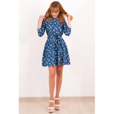 00487 Платье джинсовое синее с ромашками