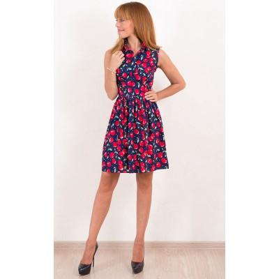 00492 Платье хлопковое с вишнями