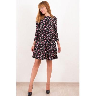 00486 Платье джинсовое черное в цветок с поясом