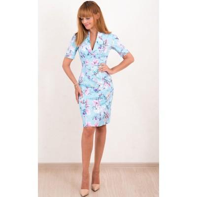 00496 Платье из жаккарда голубое с принтом