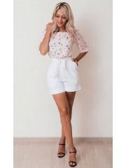00606 Блуза из вискозы розовая с птицами