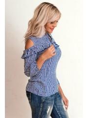 00616 Блуза из штапеля в полоску с рюшами