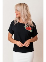 00596 Блуза из крепа черная с апликацией