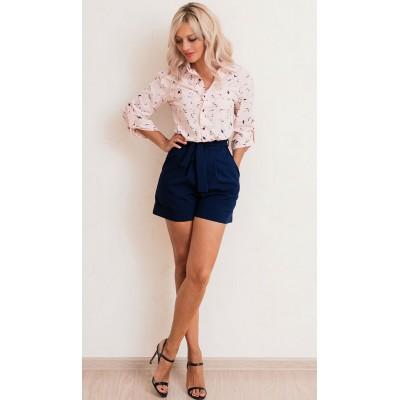 00624 Рубашка из вискозы розовая с птицами