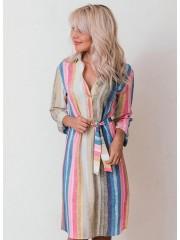 00622 Платье-рубашка из крепа в разноцветную полоску